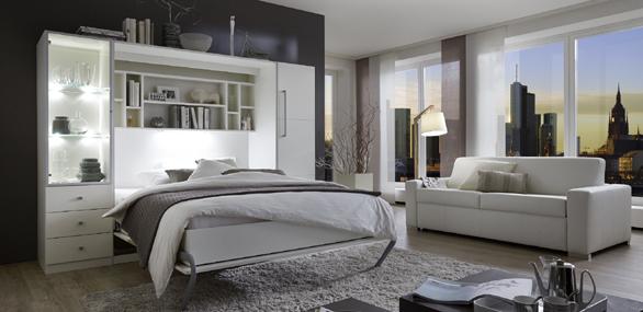 Nehl wohnideen wohnidee mit einem schrankbett milano - Wohnwand mit klappbett ...