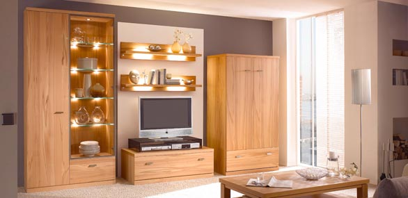 nehl wohnideen wohnidee mit einem schrankbett in nussbaum. Black Bedroom Furniture Sets. Home Design Ideas